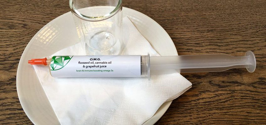 O.M.G Syringe Shot with flaxseed oil, grapefruit and cannabis oil from Farmacy.